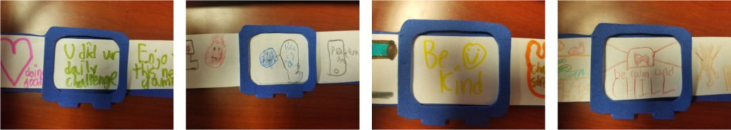 """Some of the smartwatch designs by the students at UCI's Children's School, representing the four """"signs of revelation"""" — good to go (green), feeling down (blue), proceed with caution (yellow) and stop because of angry behavior (red)."""
